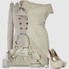 Elegant Outfit, would like this with a pop of color with the purse, earrings, or shoes.