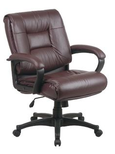 26-1//2 by 28-1//2 by 43-Inch Lorell Mid-Back Managerial Chair Black Leather Finish