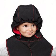 Baby Hood & Neck Warmer - Black-red #liliputistlye #babyhood #babywearingcoat