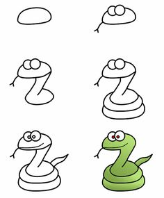 How to draw cartoon snakes -