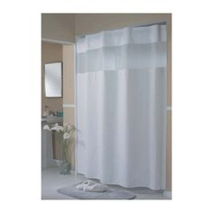 Hookless Mini Waffle Fabric Shower Curtain Liner HBH52H101X White