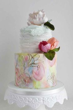 I'm obsessed with wedding cakes! Wedding cakes are a centerpiece on the big day and spring is a popular time to get married. Get inspired with these spring floral wedding cakes that every baker wants to make. I love the spring because of its blooming flow Floral Wedding Cakes, Floral Cake, Wedding Cake Designs, Purple Wedding, Chic Wedding, Gold Wedding, Tulip Cake, Trendy Wedding, Wedding Bride