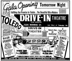 Franklin Park Drive-In (Toledo, OH) Grand opening ad August Drive Inn Movies, Drive In Movie Theater, Retro Advertising, Vintage Advertisements, Ads, Try Not To Smile, Outdoor Movie Screen, Franklin Park, Old Tv
