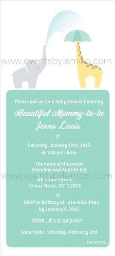 The invitation began the theme of zoo friends! Names/addresses have been fictionalized for privacy purposes. (www.eventsbylemon.com)