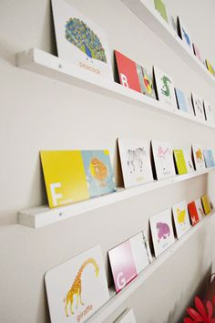 love this idea as a rotating art display, easy to swap pieces out and no worries about framing | Young House Love
