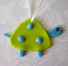 Turtle Ornament Fused glass by outofourgourds on Etsy, $12.00