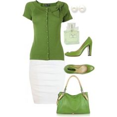 love this green and love this outfit with a different color skirt (for my body)