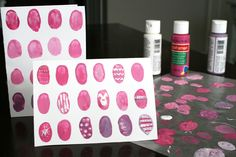 Finger Print Eggs. Cute to have Dylan do to make a card for Easter!