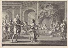 Jan Luyken | Salome ontvangt het hoofd van Johannes de Doper, Jan Luyken, Pieter Mortier, 1703 |