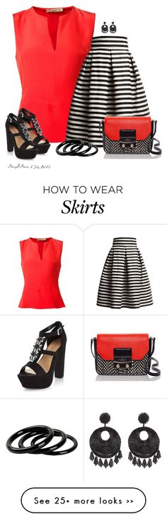 """Red Blouse and Striped Skirt"" by octobermaze on Polyvore"
