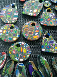 Lisää FIMO-retroilua. More FIMO polymer clay retro patterns.