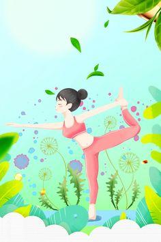 Fitness Del Yoga, Physical Fitness, Yoga Cartoon, Fitness Backgrounds, International Yoga Day, Instagram Background, Candle Craft, Namaste Yoga, Fitness Design