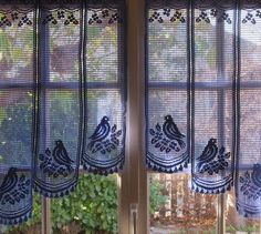 Provence Blue Lace Cafe Curtains French Lace by LinenAndLetters Bird Curtains, White Lace Curtains, Lace Valances, Crochet Curtains, Cafe Curtains, Crochet Doilies, Kitchen Curtains, Linens And Lace, Bird Design
