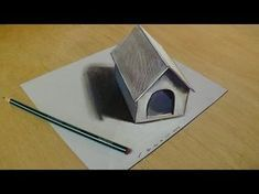 Drawing tiny dog house on paper. How to draw step by step small dog house. Hole Drawing, 3d Art Drawing, Art Drawings For Kids, Paper Drawing, Drawing For Kids, Easy Drawings, Paper Art, Optical Illusions Drawings, Illusion Drawings