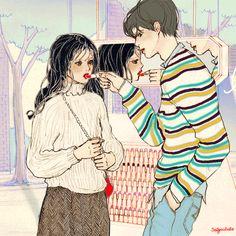 (무채색의 기분 The feeling of achromatic color - 1/1) 입술에 바른 붉은 립스틱 하나 만으로 무채색의 기분이 엷은 생기를 띈다