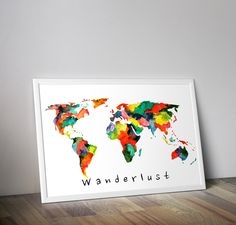 Multicolour world map - Original fine art print, Watercolor art travel print - Fine Art print - home decor - wall decor - travel by TravelBugStudio on Etsy