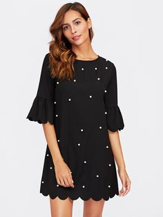 To find out about the Trumpet Sleeve Pearl Beading Scalloped Dress at SHEIN, part of our latest Dresses ready to shop online today! Casual Day Dresses, Short Dresses, Mini Dresses, Casual Wear, Men Casual, Pearl Dress, Scalloped Dress, Straight Dress, Embellished Dress