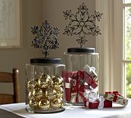 So many ideas of what to do with these canisters. Cool Christmas Cookie Jar, can fill with ornaments or any vase filler, you could fill them with candy, etc.