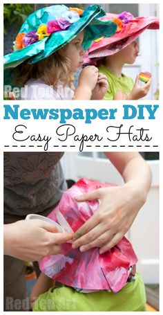 Kids wearing Newspaper Hats decorated with flowers. Mum helping make easy Newspaper hats