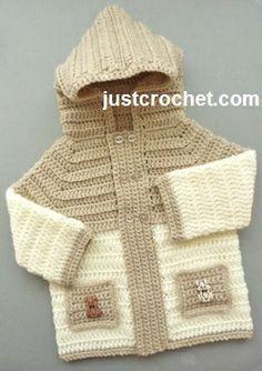 New Ideas Crochet Baby Boy Sweater Free Pattern Hooded Jacket Crochet Baby Sweaters, Crochet Hoodie, Crochet Baby Clothes, Crochet Jacket, Crochet Cardigan, Baby Knitting, Knit Crochet, Crochet Hats, Free Crochet