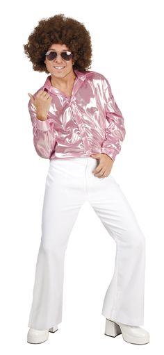 Miesten discohousut. Miesten discohousut ovat huikeat ja tyyliltää ehdottomasti John Travoltamaiset. Suosittelemme myös treenaamaan discomuuvsit kohdilleen, sillä nämä jalassa tanssiessa ei taatusti jää ilman huomiota.