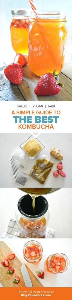"""If you're familiar with probiotics or fermented foods, you've probably heard that they offer your gut mega health benefits because they contain """"friendly bacteria,"""" or probiotics. For the full recipe visit us here: http://paleo.co/kombuchaguide"""