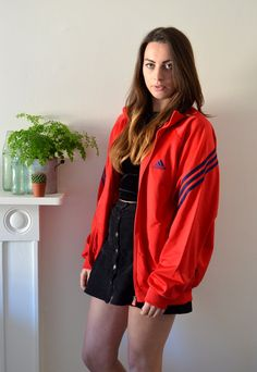 a3a372d9b42c 90s Vintage Block Red Adidas Track Jacket