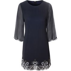 Alice & You Embellished Tunic Dress (82 CAD) ❤ liked on Polyvore featuring dresses, navy, women, beaded dress, collar dress, longsleeve dress, sheer-sleeve dress and navy blue beaded dress