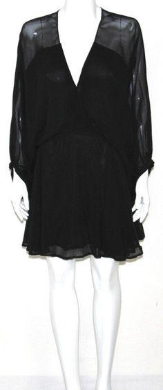 3ad255b0cd4d1 NEW Smith Size SMALL Balloon-Sleeve Silk Chiffon Dress BLACK  Smith   Blouson