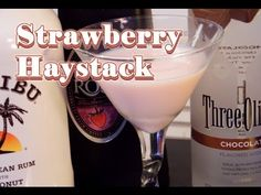 Strawberry Haystack Cocktail - yum! Equal parts of all ingredients (1 1/2 oz) tequila rose, chocolate vodka, malibu rum.