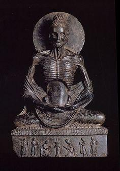 Fasting Siddhartha (Sakyamuni Buddha) From Sikri, Pakistan Kushana period Schist. H: 84 cm Lahore Museum, Lahore Gandhara -- Fasting Buddha Buddha Sculpture, Art Sculpture, Gautama Buddha, Buddhist Art, Ancient Aliens, Sacred Art, Ancient Artifacts, Indian Art, Tibet