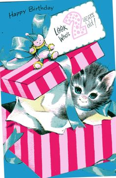 Vintage Birthday Card Kitten Cat Kitty w/ Pink Box For two/ 2 Year Old Child 1960's. $ 3.00, via Etsy.