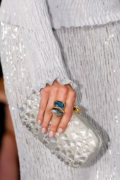 View all the detailed photos of the Oscar de la Renta spring / summer 2013 showing at New York fashion week. Runway Nails, Gray Matters, Evening Bags, Evening Clutches, Fashion Details, Bago, Luxury Branding, Spring, Rings For Men