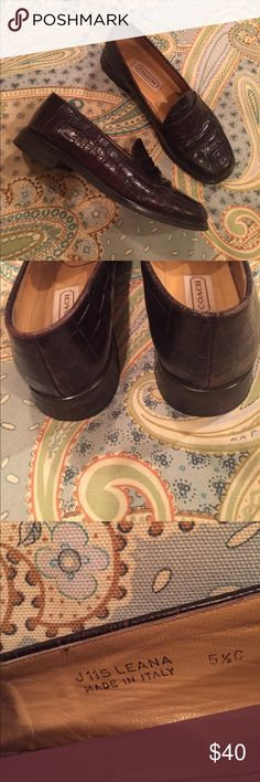 COACH - 5.5 C LEATHER, embossed loafers COACH 5.5 C - 5 1/2 C -  wonderful!  Dark Brown, crocodile  embossed high quality leather. Leather lined.  Will last many years. Made in Italy,  from non-smoking home.  Gift, so don't know original price.  No longer have the box.  Loafers are very much on-trend for winter 2017/2018.  Purchased new in Savannah, GA, a few years ago. Coach Shoes Flats & Loafers