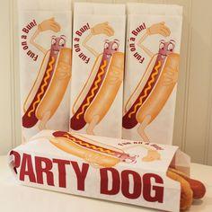 Hot Dog Bag, 24 Fun On A Bun HOT DOG BAGS, Fun vintage retro style Dancing Hot Dog Bag. $6.00, via Etsy.