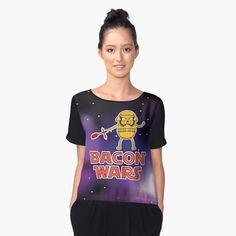 Bacon wars - Jake Women's Chiffon Top Front  #starwars #stormtrooper #sith #laser #lightsaber #bacon #jake #jakethedog #adventuretime #geek #movie #darkside #movie #episodevii #nerd #cartoon #vector #vectorart #adobeillustrator #prints #poster #apparel #space #tshirt #case #kyloren #empire #firstorder #tank