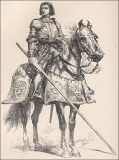 Gilles de Rais as he was at the hight of the Hundred Years' War. His horse who had blue barding gave him the name Blue Beard from Barbe Bleue which means both blue beard and blue barding.