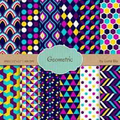 "Geometric Digital Paper: ""Geometric Patterns""neon digital paper, colorful geometric papers, geometric background, geometric scrapbook paper by Lunabludesign on Etsy"
