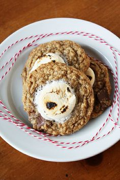 Cookies full of oatmeal, graham cracker crumbs, and Hershey bars, with a big, toasted marshmallow on top!