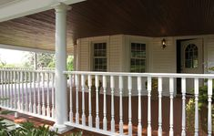 PVC Railing is a great alternative to traditional wood. PVC Railing will retain the look and feel of wood, while having extreme durability and low maintenance. Pvc Railing, Vinyl Railing, Vinyl Fencing, Brick Porch, Porch Columns, Front Porch, Square Columns, Porch Posts, Porch Area