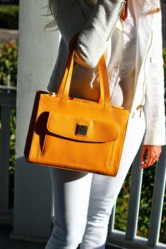 dooney and bourke, yellow tote, Fall Outfit, white tweed jacket, white pants, white on white
