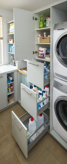 Utility room from Spitzhüttl Home Company - Wohnen - Hauswirtschaftsraum von Spitzhüttl Home Company Practical drawers make it easier to keep an overview and keep everything within reach. More information about the utility room at Spitzhüttl Home Company. Laundry Storage, Room Design, Small Spaces, Laundry Room Design, New Homes, Bathroom Storage, Furniture Companies, Utility Rooms, Storage
