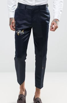 ASOS Slim Crop Tuxedo Trousers In Navy Satin with Embroidery from ASOS (men, style, fashion, clothing, shopping, recommendations, stylish, menswear, male, streetstyle, inspo, outfit, fall, winter, spring, summer, personal)