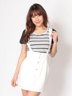 CECIL McBEE サス付きタイトスカート(ホワイト)