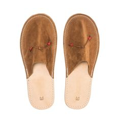 Handmade with full leather construction the slippers feature supple rough-out suede Foot Toe, Slippers, Footwear, Construction, Flats, Leather, Handmade, Shoes, Building