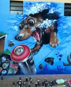 By Carlos Farinha via Street Art Infinity - pinnervoir Amazing Street Art, Best Street Art, 3d Street Art, Street Art Graffiti, Street Artists, Graffiti Wall Art, Mural Art, Banksy, Urbane Kunst
