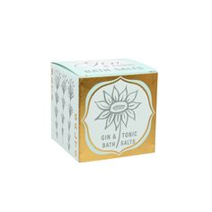 Bath Salts Box - Gin & Tonic  £4.99  Presented in a irresistibly bright and shiny box these natural salts have a delicious fragrance and skin nourishing qualities. A lovely gesture to brighten someone's day.