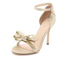 Isa Tapia Shelby Sandals (553 AUD) ❤ liked on Polyvore featuring shoes, sandals, gold, leather buckle sandals, metallic sandals, leather bow sandals, leather sole sandals and leather ankle strap sandals