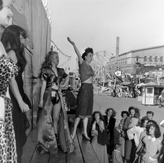 Gypsy Rose Lee on the bally of her girlie show on the carnival midway