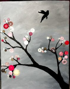 Button Trees On Canvas | Items similar to Button Tree - Acrylic painted on canvas. 12X16 inches ...